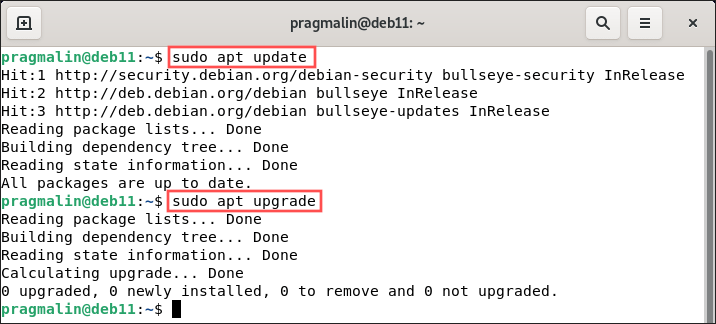 """Terminal screenshot that shows you how to update the installed packages on your Debian 11 bullseye system, using the commands """"sudo apt update"""" and """"sudo apt upgrade""""."""