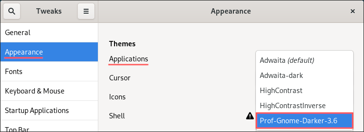 GNOME Tweaks screenshot showing you how to select a different GNOME GTK (applications) theme.