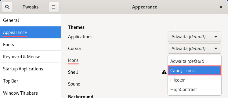 GNOME Tweaks screenshot, showing how to configure an icon theme.
