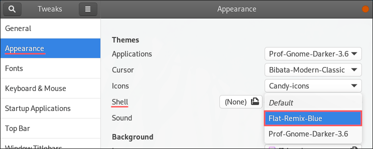 GNOME Tweaks screenshot that shows you how to change to a different GNOME Shell theme.