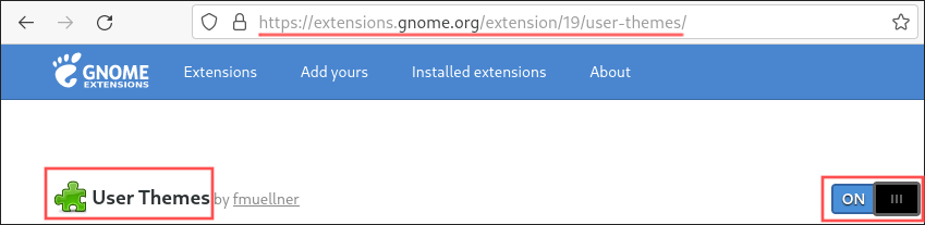 Screenshot of how to install the User Themes GNOME extension. This extension is needed to change the GNOME shell theme.