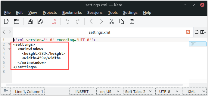 Screenshot of the XML settings file opened in a text editor. It shows that the XML file contents, written by wxWidgets, represent what we designed.
